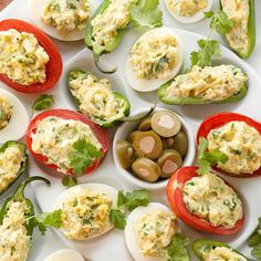 Complete your potluck with ranch-infused deviled eggs. Use Greek yogurt for a low-fat, protein-rich filling. More make-and-take recipes: http://www.bhg.com/recipes/healthy/healthy-fall-potluck-recipes/ #myplate