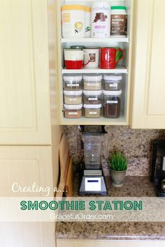 Organizing all your smoothie supplies in one cabinet! See pictures of the whole cabinet so that you can do it too at home!