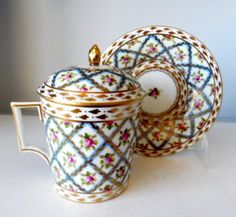 Dresden Porcelain Sevres Blue Painted Flowers Covered Trembleuse Cup Saucer | eBay