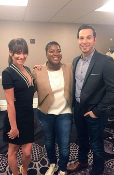 Lea Michele, Skylar Astin and Ester Dean
