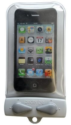 Aquapac Micro Whanganui Case on Amazon.  Keep your phone dry and dust/sand free.  Still use your fingers to dial and still hear people talk.  Still take pictures, even.  The micro fits the iPhone 4S, so if your phone is bigger, get the next size up.