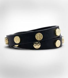 Leather Double Wrap Logo Stud Bracelet | Womens Bracelets | This is going on my wish list. v.v.