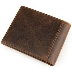 Fashion Leisure Cowhide wallet New Retro Crazy Horse Skin Purse Men Genuine leather wallet Card Holder #Affiliate