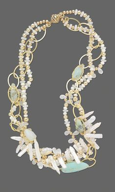 Jewelry Design - Triple-Strand Necklace with 14Kt Yellow Gold Beads, Quartz Crystal Beads and Cultured Freshwater Pearls - Fire Mountain Gems and Beads