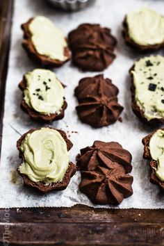 ... dark chocolate sable with black salt green tea ganache ...