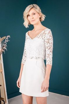 Halb-transparentes Brauttop mit Blättermuster - Amber Trends, White Dress, Tops, Dresses, Fashion, Unique Dresses, Two Piece Outfit, Patterns, Nice Asses