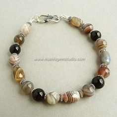 Bracelet for Men - Botswana Agate Black Onyx Gems in Sterling Silver