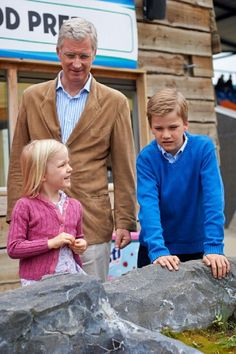 (L-R) Princess Eleonore, King Philippe and Prince Gabriel of Belgium visit Sealife, 12.07.2014 in Blankenberge, Belgium.