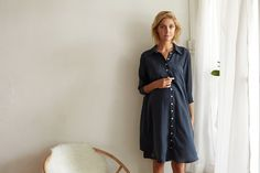 Belle Silk Shirt Dress. KIN Maternity