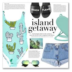 """""""island getaway"""" by myduza-and-koteczka ❤ liked on Polyvore featuring Christopher Kane, Levi's, Schutz, H&M and Anja"""