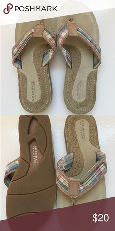 Ladies Sperry leather sandals size 8 Perfect pair of ladies Sperry sandals. These have a madras plaid design with super soft leather straps and insoles. Size 8. Sperry Shoes Sandals