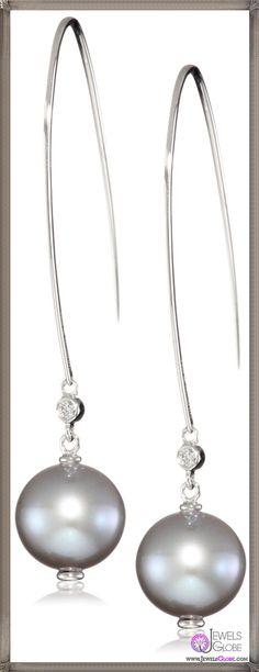 Ivanka Trump Soho Bead Drop Wire Grey Pearl and Diamond Earrings