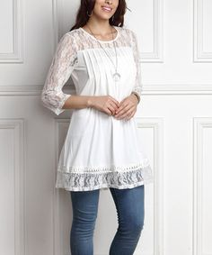 Another great find on #zulily! White Lace-Panel Pin Tuck Tunic - Plus #zulilyfinds
