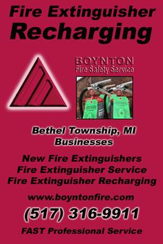 Fire Extinguisher Recharging Bethel Township, MI (517) 316-9911 Local Michigan Businesses Discover the Complete Fire Protection Source.  We're Boynton Fire Safety Service.. Call us today!