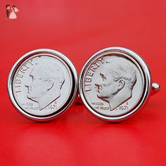 US 1971 Roosevelt Dime Gem BU Uncirculated 10 Cent Coin Cufflinks NEW - Groom fashion accessories (*Amazon Partner-Link)