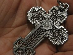 Silver  Medal Ornate Cross  with an 8 Pointed by alexandracadena, $14.99