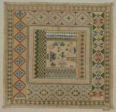 """Spanish Sampler ~ 1822~ Teresa Fernandez ~ linen plain weave embroidered with silk ~ Square linen sampler embroidered with concentric bands in geometric borders, pictorial motifs in center; inscribed """"LoIzo Teresa Fernandez discipula de Dona Josepa Plumed . ano de 1822""""; Stitches: counted satin, cross, Florentine ~ Museum of Fine Arts"""