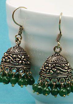Green Stone Oxidised Earrings Johareez.com