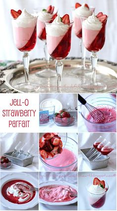 Jell-O Strawberry Parfait Dessert Recipe - AllDayChic Parfait Desserts, Jello Desserts, Jello Recipes, Dessert Recipes, Jello Parfait, Parfait Recipes, Types Of Desserts, Just Desserts, Delicious Desserts