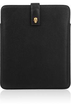 Alexander McQueen  Skull charm leather iPad sleeve