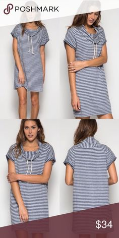 🌻COMING SOON🌻 Striped Cowl Neck Drawstring Dress Beautiful sweater dress with hoodie and drawstrings. Brand new. S M L. Blue. 70% cotton 30% rayon. Ships 8/7 Dresses Mini
