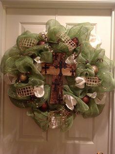 Mesh Wreath with Cross