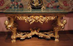 Console table Date: ca. Culture: Italian, Rome Medium: Gilded linden and poplar, green porphyry, gilt-bronze
