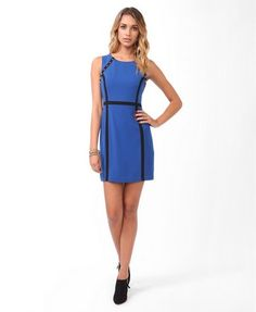 Spiked Contrast Paneled Dress   FOREVER21 - 2000049701