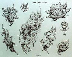 Floral Tattoo Designs On A Black Background Tattoo Stencil Designs, Flower Tattoo Stencils, Flower Tattoo Drawings, Tattoo Sleeve Designs, Flower Tattoos, Sunflower Tattoo Shoulder, Sunflower Tattoo Small, Floral Tattoo Design, Flower Tattoo Designs