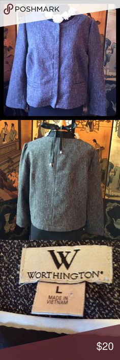"""WORTHINGTON COAT BLACK WITH CREAM PATTERNED STITCHING RUNNING THROUGH IT. HAS TWO FAUX POCKETS IN FRONT AND FIVE SNAP UP CLOSURES FOR EASY ON AND OFF. LINED AND IN GREAT SHAPE. SIZE L MEASURES 42"""" BUST AND 21"""" LENGHT. JEWELRY DOES NOT COME WITH JACKET. Worthington Jackets & Coats Blazers"""