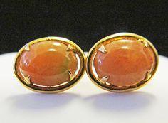 14Kt Gold Orange Red Jade Earrings, Alohamemorabilia.com, Aloha Memorabilia Company, Sandy Watanabe, Craig Watanabe, Jade Jewelry, jade earrings,