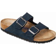 Birkenstock Unisex's Arizona Soft Footbed Denim Suede Slide Sandals ($135) ❤ liked on Polyvore featuring shoes, sandals, blue, blue strappy sandals, birkenstock shoes, adjustable strap sandals, suede sandals and blue suede shoes