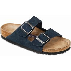Birkenstock Unisex's Arizona Soft Footbed Denim Suede Slide Sandals ($135) ❤ liked on Polyvore featuring shoes, sandals, blue, arch support shoes, suede sandals, unisex shoes, denim sandals and slide sandals