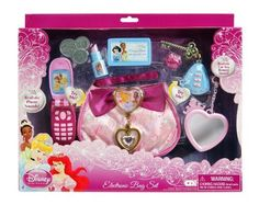 Disney Princess Electronic Bag Set (Open Box) by Creative Designs Inc. (CDI). $29.99. Set includes purse, play cell phone, play key with remote, play coins, play lipstick, play credit card and play mirror. Play cell phone and play car key remote with realistic sounds. Batteries included. From the Manufacturer She'll tour the kingdom in high style with our Disney Princess Electronic Bag Set. Printed royal handbag hosts an array of playful accessorie...