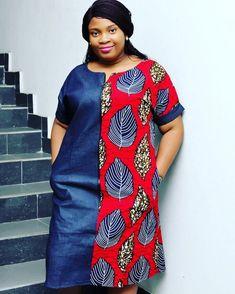 bf31dbb799 Denim ankara african print zip front shift dress