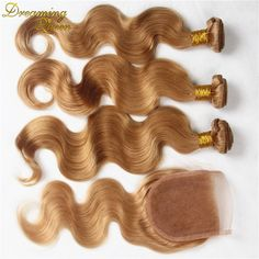 # 27 Malaysian Virgin Hair Body Wave 3 Bundles With Lace Closure Honey Blonde Bundles Wet And Wavy Weave With Closure