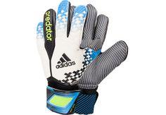 adidas Predator Pro Wet Grip Goalkeeper Gloves - White with Solar Blue | Soccer Master