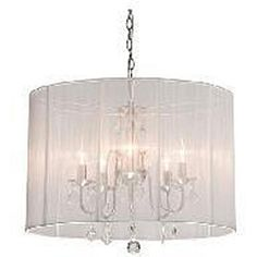 @Overstock.com - Chrome and Cream 6-light Crystal Chandelier - Lighten up any room in your home with this six-light crystal chandelier. The chandelier has a chrome finish with elegant cream shade for perfect light distribution.  http://www.overstock.com/Home-Garden/Chrome-and-Cream-6-light-Crystal-Chandelier/4127713/product.html?CID=214117 $151.19