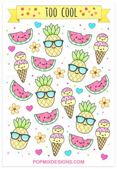 http://popmixdesigns.com/item/pineapple-watermelon-stickers