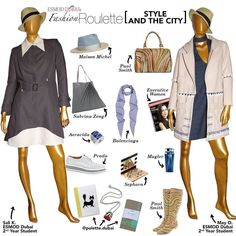 This weeks fashion roulette features the creations of Esmod Dubai 2nd Year students Sali K. @sallykoudmani and May O. @mayorfy. The garments are urban chic and made expertly! We love the subtle city tones and selected items to match. Drop by @polette.dubai in @citywalkdubai for some unique pieces such as @bijouvegetal wearable fresh rose necklace #dubout notebooks @littlemajlis tea towels and so much more! @maisonmichel @paulsmithdesign @sabrinazeng @balenciaga @executivewomen_ @aeravida…