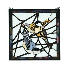 Early Morning Visitors Stained Glass Window 18 in. x 18 in. - Western Decor - Cabin Decor