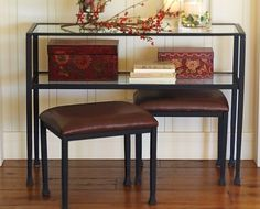 glass console table pottery barn