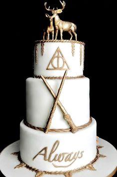 42 Eye-Catching Unique Wedding Cakes ❤️ unique wedding cakes white and gold harry potter styled dessert fallonraecakes #weddingforward #wedding #bride #bridalcake #uniqueweddingcakes