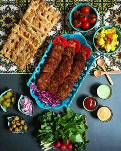Persian style lunch Kotelet, sangak, shour