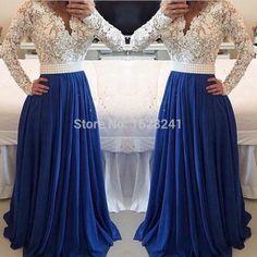 Find More Prom Dresses Information about  Lace Blue Chiffon A line Prom Dresses 2015 Long Sleeve pearls Evening Gowns vestidos de festa Sexy V Neck Formal party Dress,High Quality dress products,China dress party dress Suppliers, Cheap dress express from True Love Bridal dress Co., Ltd.  on Aliexpress.com