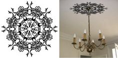ceiling stencil or decal to highlight fixture