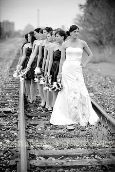 cool juxstaposition between pretty and sort of run down looking (the tracks, not the girls) Bridal Party Poses, Wedding Poses, Wedding Couples, Wedding Engagement, Wedding Ideas, Wedding Dresses, Wedding Girl, Dream Wedding, Shower Dress For Bride