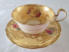 Aynsley Yellow Aristocrat China Tea Cup & Saucer Teacup Set by NicerThanNewVintage on Etsy https://www.etsy.com/listing/237285579/aynsley-yellow-aristocrat-china-tea-cup