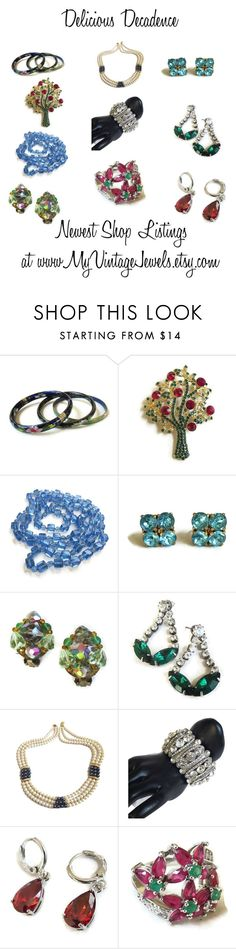 Delicious Decadence by myvintagejewels on Polyvore featuring #vintage #jewelry #necklaces #brooches #rings #bracelets #earrings #ruby #emerald #garnet #cloisonne www.myvintagejewels.etsy.com