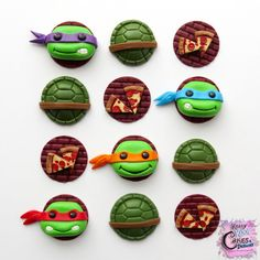 COWABUNGA DUDES!!! If you have a little one who LOVES Teenage Mutant Ninja Turtles, these are the PERFECT cupcake toppers for their birthday cupcakes! These SUPER FUN toppers are sure to get several oohs and aahs at your TMNT party! These adorable cupcake toppers are hand-sculpted by Sugar Artists Laura E. Varela-Wong and Arnie Wong. They are perfect for decorating regular size cupcakes or for embellishing cakes. This listing is for one dozen (12) TMNT theme cupcake toppers to look exactly…